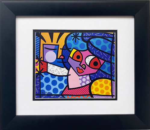 "Romero Britto ""Fine Romance"" FRAMED Plate Signed Pop Art"