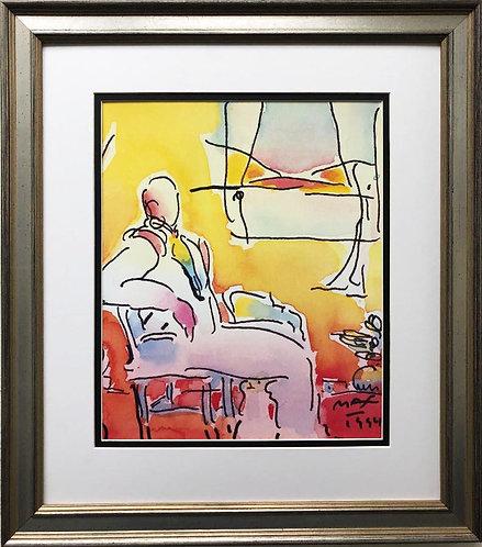 "Peter Max ""Seated Dega in Room"" CUSTOM FRAMED Print"