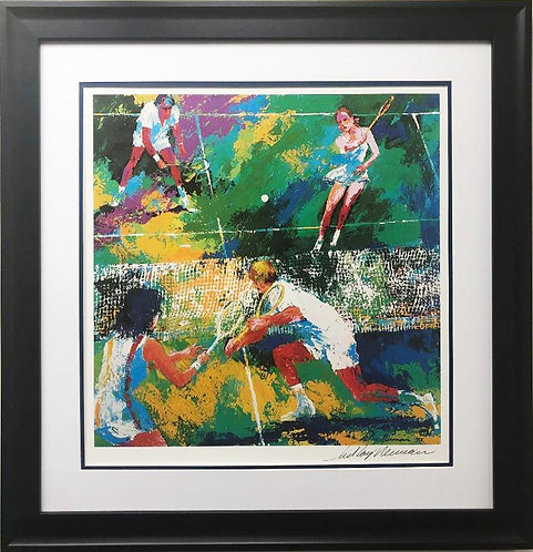 "LeRoy Neiman ""MIXED DOUBLES"" Hand Signed Lithograph NEWLY CUSTOM FRAMED"