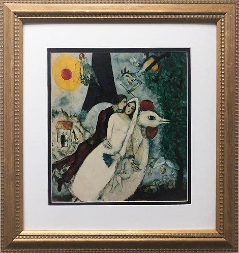 "Marc Chagall ""Bridal Pair with Eiffel Tower"" New CUSTOM FRAMED Art"