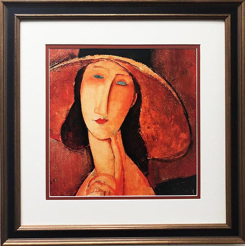 "Amedeo Modigliani ""Portrait of Jeanne Hebuternet"" CUSTOM FRAMED ART"