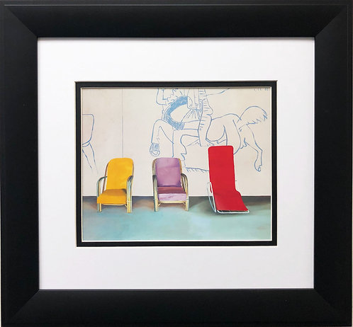 """David Hockney """"Three Chairs with Picasso Mural"""""""