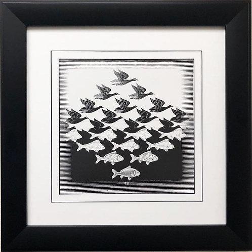 "M.C.Escher ""Sky and Water I"" 1938 CUSTOM FRAMED Art"