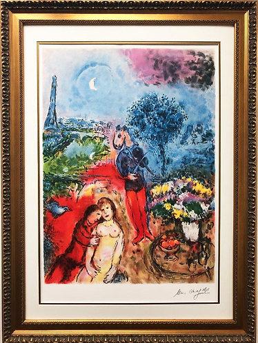 "Marc Chagall ""Serenade"" RARE Custom Framed Art 25 Color Lithograph"