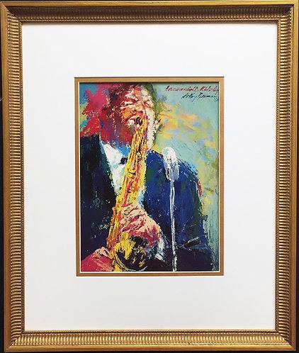 "LeRoy Neiman ""Cannonball"" Adderley CUSTOM FRAMED Art Print - Jazz Saxophonist"