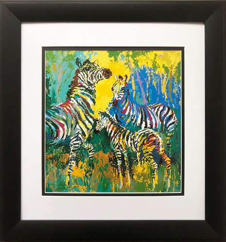 "LeRoy Neiman ""Zebra Family '""  NEW Framed Art Jungle Animal Africa Safari"