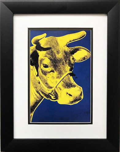 "Andy Warhol ""Cow Poster"" (Blue/Yellow) CUSTOM FRAMED Pop Art Lithograph"