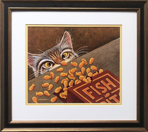 "Washam ""Want Some Goldfish!"" New FRAMED American Cat Art"