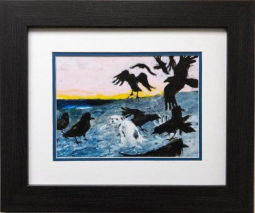 "Jamie Wyeth ""Albino Bald Eagle"" CUSTOM FRAMED Art"