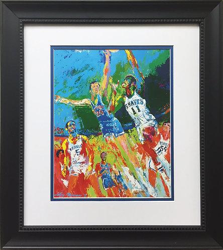 """LeRoy Neiman """"Bob McAdoo & Bill Bradley"""" CUSTOM FRAMED ART Basketball NY Knicks"""