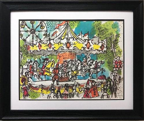 """Charles Cobelle """"Carousel"""" CUSTOM FRAMED New Art Hand Signed"""