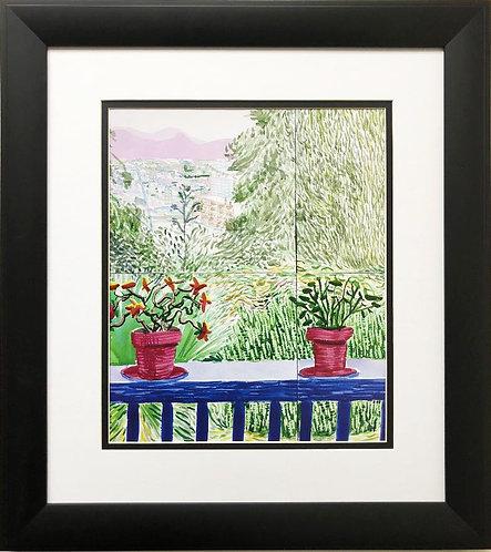 """David Hockney """"View From Terrace II"""" NEW Custom FRAMED Pop ART"""