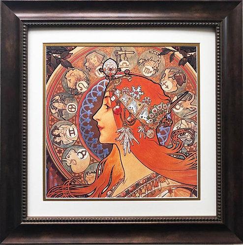 "Alphonse Mucha ""Zodiac"" 1896(detail) FRAMED ART"