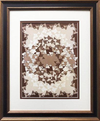 """M.C.Escher """"Fish"""" 1941 (Brown) CUSTOM FRAMED Art"""