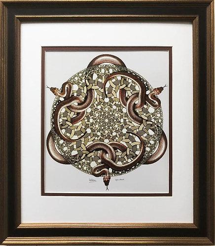 """M.C.Escher """"Snakes"""" 1969 CUSTOM FRAMED Art"""