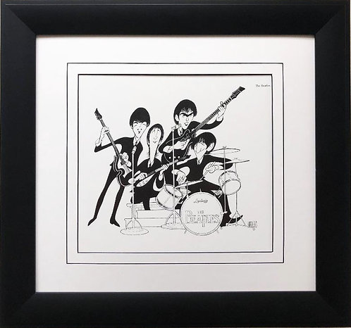 "Al Hirschfeld ""The Beatles"" CUSTOM FRAMED Decorative ART Print"