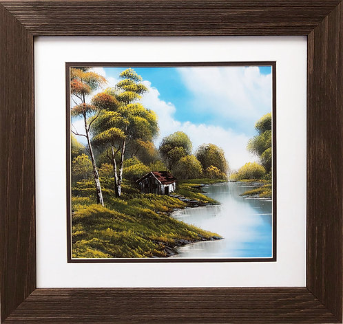 "Bob Ross ""Cabin by the River"" Happy Trees CUSTOM FRAMED ART Nature  Print Forest"