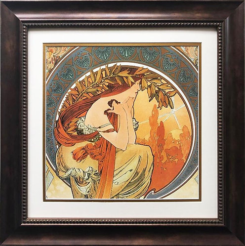 "Alphonse Mucha ""The Arts: Poetry"" 1898 (detail) CUSTOM FRAMED ART"