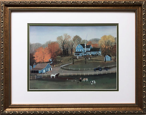 "Michel Delacroix ""Cornerstone Farm""  CUSTOM FRAMED Primitive Art  France Autumn"