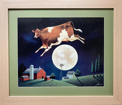 "Lowell Herrero ""Cow Jumps Over the Moon"" New FRAMED Americana Art"
