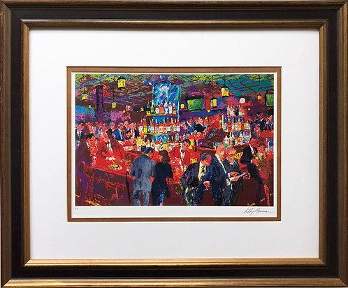 """LeRoy Neiman """"Harry's Wall Street Bar"""" CUSTOM FRAMED ART NEW New York NEW"""