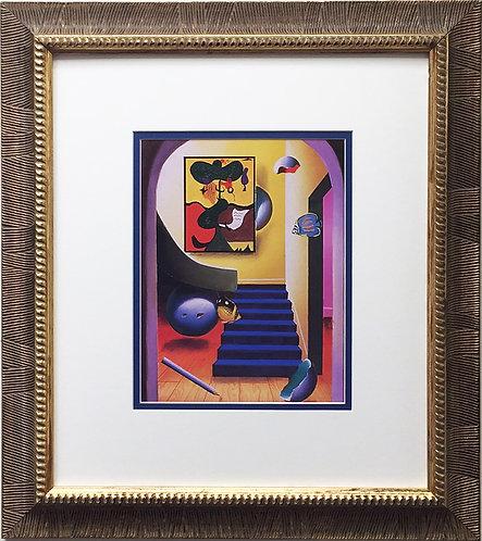 "FERJO ""The Upstairs Gallery"" Newly CUSTOM FRAMED ART Print Surrealism Miro Dali"