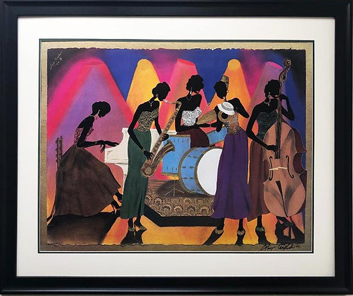 """Leroy Campbell """"No Man's Band"""" Framed Signed African American Art"""