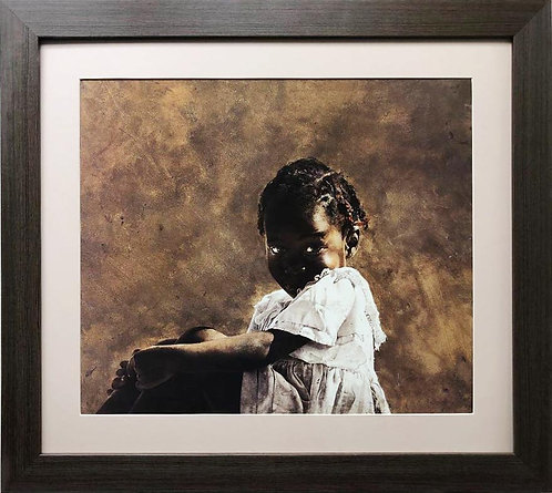 "Stephen Scott Young ""Bright Baby Blues"" Plate Signed Custom FRAMED African Art"