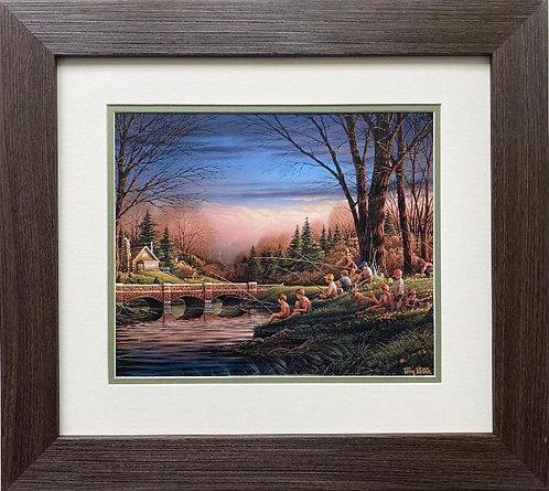 """Terry Redlin """"Spring Fishing"""" CUSTOM FRAMED Rural America Art Print"""