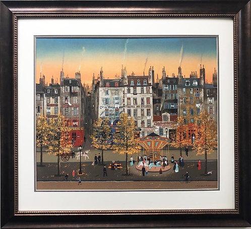 """Michel Delacroix """"Le Monege Sur Le Boulevard"""" Framed Litho Art"""