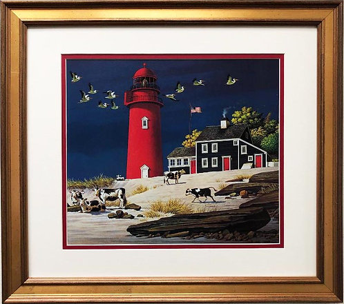 "Charles Wysocki ""Beach Bums"" New CUSTOM FRAMED Art"