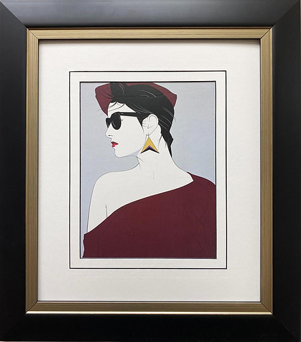 "Patrick Nagel ""Carol"" NEW CUSTOM FRAMED Art Deco Print"