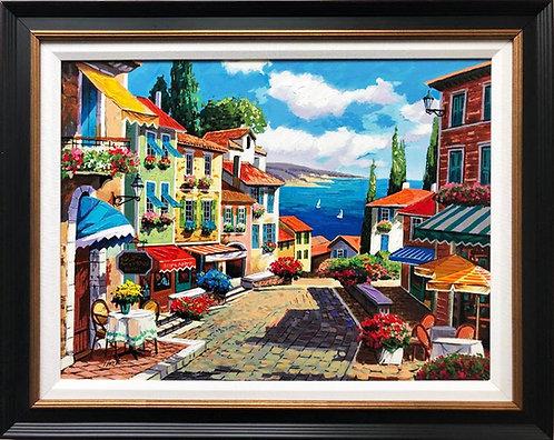 "Anatoly Metlan ""Cobblestone Path"" Framed Hand Signed Art"