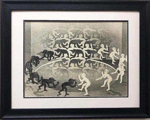 """M.C.Escher """"Encounter"""" Rencontre CUSTOM FRAMED Art"""