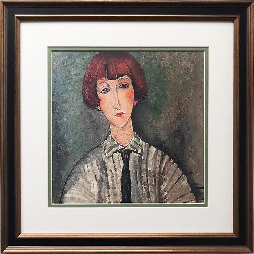 "Amedeo Modigliani ""Young Girl in a Striped Shirt"" CUSTOM FRAMED ART"