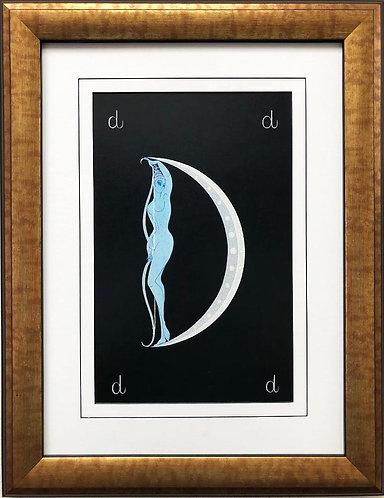 """Erte """"D"""" CUSTOM FRAMED Vintage Print Art Deco Alphabet Letter Suite"""