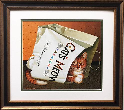 "Charles Wysocki "" Dudley Wadsworth Cats in A Bag"" New CUSTOM FRAMED Art"