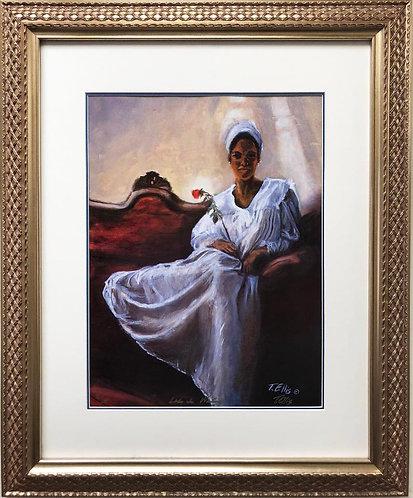 "Ted Ellis ""Lady in Waiting"" Custom Framed African American Art"