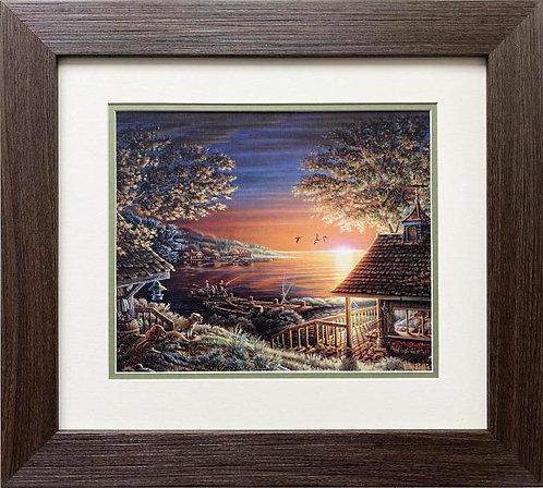 """Terry Redlin """"Sunset Retreat"""" CUSTOM FRAMED Rural America Art Print"""