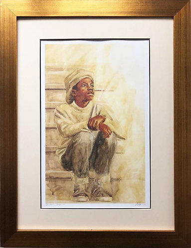 "Alonzo Adams ""Distant Dreams"" CUSTOM FRAMED African American Hand Signed Art"