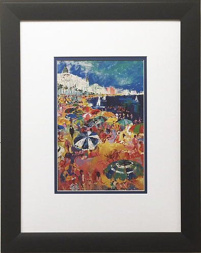 "Leroy Neiman ""The Beach at Cannes"" CUSTOM FRAMED Art Print France French Riviera"