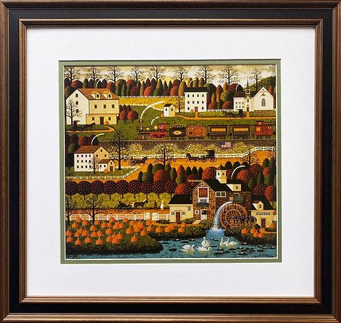 "Charles Wysocki ""Honey Pumpkin Valley"" New CUSTOM FRAMED Art"