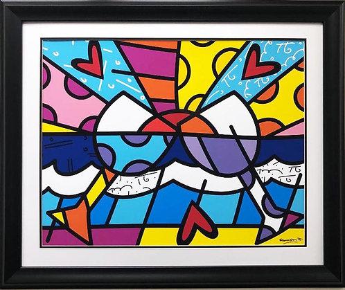 "Romero Britto ""Cheers"" (lg) NEWLY CUSTOM FRAMED Art Print"