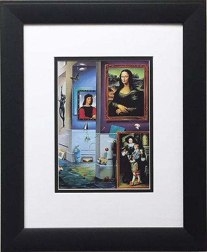 "FERJO ""The Beginning"" New CUSTOM FRAMED ART Print Surrealism Leonardo da Vinci"