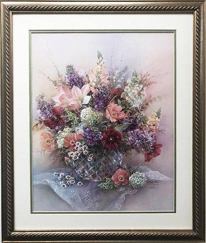 "Lena Liu ""Mystic Bouquet"" Custom Framed Hand Signed Limited Edition Floral"