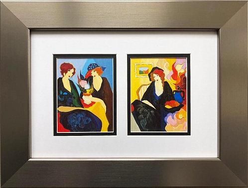 "Itzchak Tarkay ""Silent Thoughts I & II"" Framed Art Print Diptych"