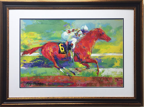 "LeRoy Neiman ""Funny Cide"" Newly CUSTOM FRAMED Art Lithograph Equestrian Horse"