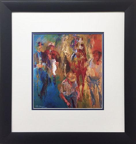 "LeRoy Neiman ""The Paddock"" CUSTOM FRAMED Art Print Equestrian Horses Secreriat"
