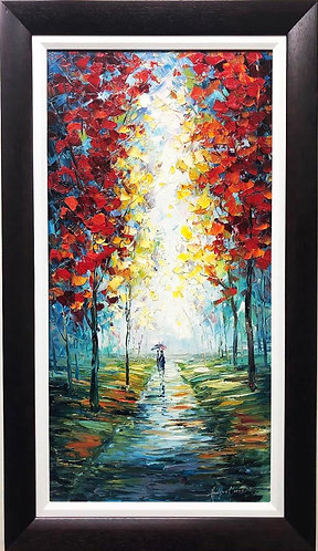 "Hudson Moore ""Rainy Day in the Park"" Framed Signed Oil"