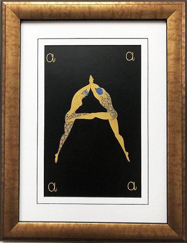 "Erte ""A"" CUSTOM FRAMED Vintage Print Art Deco Alphabet Letter Suite"